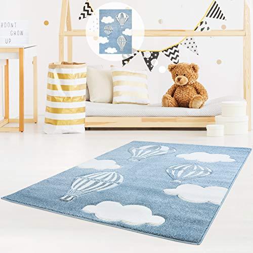 MyShop24h Kinderteppich Kinderzimmer schöner Teppich in Blau/Weiß Hochwertig Bueno Konturenschnitt Himmel Heißluft-Ballons Wolken, Größe in cm:140 x 200 cm
