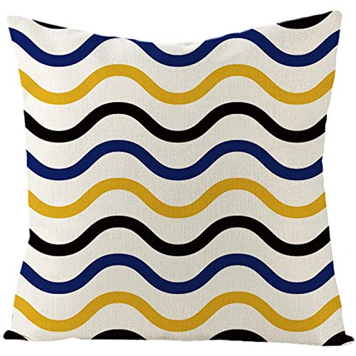 AtHomeShop 50 x 50 cm Decorative Cushion Cover in Linen with Wavy Stripes Square Cushion Cover for Cars Living Room Bedroom Office Sofa Decoration Yellow Blue Blue Style 5