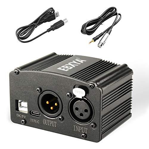 EBXYA 1-Canal 48V Alimentation Fantôme avec Câble USB, Câble XLR à 3,5mm Jack pour Tous Microphones à Condensateur Musique Dispositifs d'Enregistrement