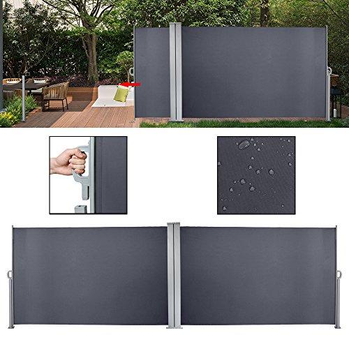 huigou HG® Seitenmarkise 180x600cm Sonnenschutz Markise TÜV geprüft grau Terrassenwindschutz inkl. Montagematerial für Balkon