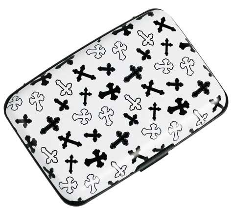 Plixio White & Black Cross Aluminum & Credit Card Case with RFID Protection
