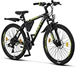 Licorne Bike Bicicleta de montaña prémium para niños, niñas, hombres y mujeres, cambio Shimano de 21 velocidades, para hombre, Effect, Niñas, negro/lima (2 frenos de disco)., 66,04 cm