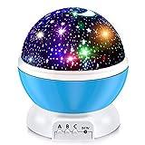 BURNNOVE Lámpara Proyector Estrella y Luz de Luna Lámpara Proyector 360º Giratoria Lámpara de Sueño Giratoria Incolora con Cable de Carga USB [Clase de eficiencia energética A+]