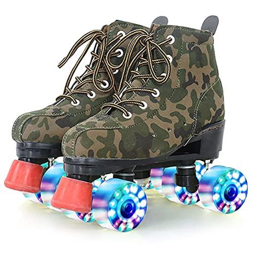 GGOODD Unisexo Zapatos con Ruedas 4 Ruedas Zapatos Skate con Rueda de Flash de Luz LED Automática De Patines de Ruedas Zapato de Rodillo de Patada