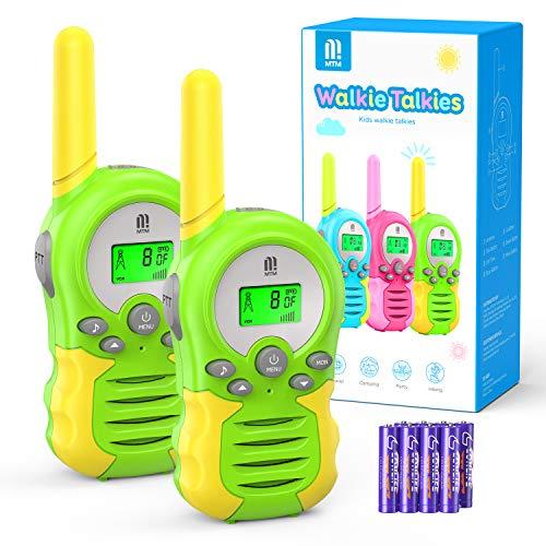 Walkie Talkie PMR446 8 Canales Función VOX Rango de 3KM 10 Tonos de Llamada con LCD Retroiluminada Walky Talky con Pilas, para Actividades Externas, Camping (Verde)
