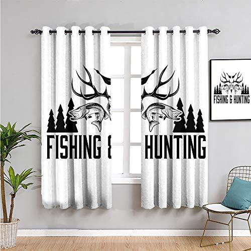Pcglvie Cortinas opacas de caza, 114,3 cm de longitud para caza y pesca en diseño de emblema vintage, cuernos de pino, uso repetible, blanco y negro, 63 x 45 pulgadas