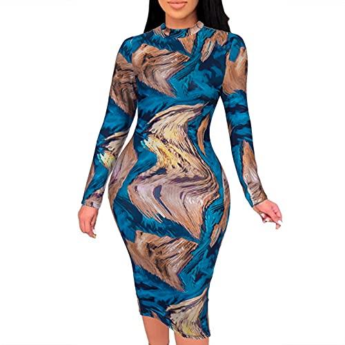 NISOWE Vestido sexy para mujer, estampado multicolor, manga larga, con volantes, ajustado, sexy, minivestido, disfraz, azul, S