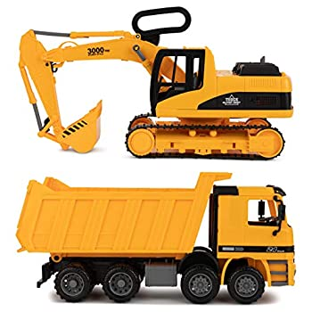 Excavator & Dump Truck Toy for Kids  Set of 2  – Moveable Claw & Lifting Back – Garbage Truck & Bulldozer Digger – Construction Vehicle for Kids & Children by Toy To Enjoy