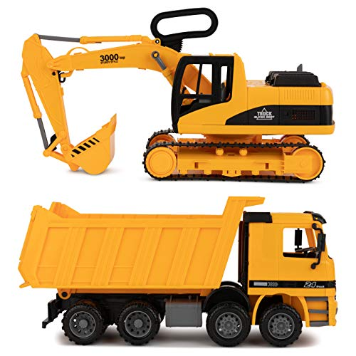 Excavator & Dump Truck Toy for Kids (Set of 2) – Moveable Claw & Lifting Back – Garbage Truck & Bulldozer Digger – Construction Vehicle for Kids & Children by Toy To Enjoy