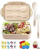 brotzeitbox mit unterteilung,Bentobox Lunchbox Erwachsene/Kinder mit fächern,Nachhaltig Auslaufsicher Spülmaschinenfest Bento Box, Brotdose Kindergarten,brotzeitbox für Schule/Arbeit/Picknick Reisen