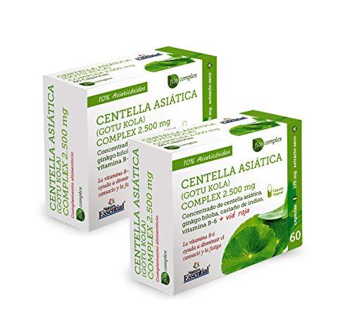 Centella asiática (complex) 2500 mg 60 cápsulas vegetales con castaño de indias, vid roja, ginkgo biloba y vitamina B-6. (Pack 2 Unid.)