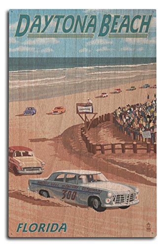 Lantern Press Daytona Beach, Florida - Daytona Beach Racing Scene (10x15 Wood Wall Sign, Wall Decor Ready to Hang)