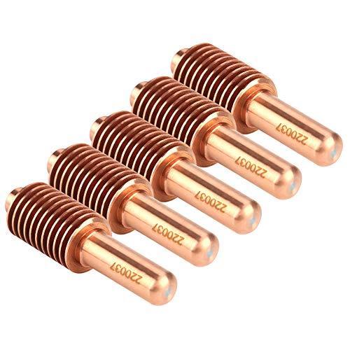 Consumibles de cortador de lasma, Electrodos de plasma Resistencia a la corrosión Tellurium Cobre Resistencia de Ablación Eléctrica 5 unids/set para MAX1650 Antorcha de corte de plasma
