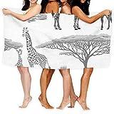 Dress Rei Jxrodekz Toalla de playa de 78,7 x 51 cm, con cebra y jirafa para adultos, 130 x 80 cm, suave, ligera, absorbente, para baño, piscina, yoga, pilates, pícnic, mantas