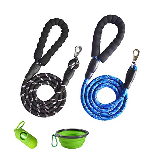 YuanMoon 2 Pack Dog Leashes 5 FT Heavy Duty Radiant Colors, Reflective Rope - Padded Handle - Nylon Dog Leashes for Medium Large Dogs with Garbage Collection Bag,Multiple Colors (Black + Blue)