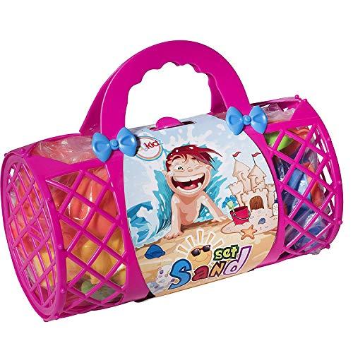 Toys 4 U Strandspeelgoed Megapack strand- en zandbakspeelset met unieke krabben, schelp-zandvormen, schep, gieter en bonus mandtas met handgrepen, verkrijgbaar in roze of blauw
