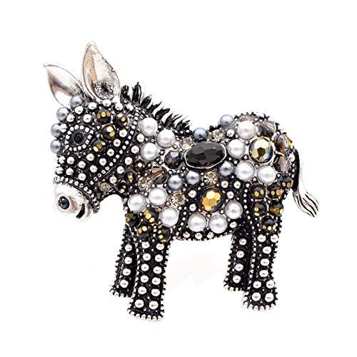 YSCSTORE HumoliStore Cute Bead Donkey Brooch, 4.0cm*4.0cm Female Fashion Animal Pin, Elegant Outerwear Accessory Gift Beautiful and elegant (Metal color : Black)