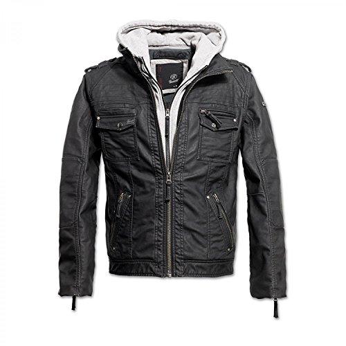 Brandit Black Rock Vintage Leather Jacket Herren Jacke, Schwarz-Grau XXL
