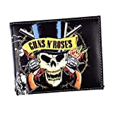 SDWJJ Music Rock Band Wallet Gun Flower Rose Print Rolling Stone Credit Card Wallet, Neutral Small Wallet Tickets Rock and Roll Hip Hop (Color : Black, Size : 11.5x9.3cm)