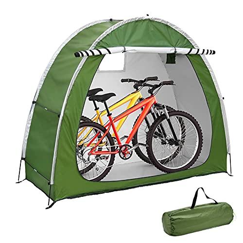 EEUK Cobertizo para Guardar Bicicletas, Carpa para Bicicletas al Aire Libre, Guarda Bicis Exterior con DiseñO de Ventana para 2 Bicicletas 200 * 165 * 80 cm(Color:Verde)