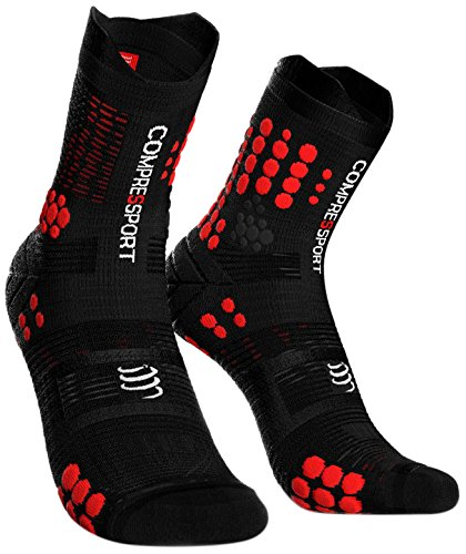 COMPRESSPORT Pro Racing Socks v3.0 Trail Calcetines para Correr, Unisex-Adult, Negro/Rojo, T2