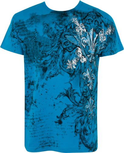 Vines & Fleur De Lis T-Shirt aus Baumwolle, Metallic silbern eingefasster Ärmel - Türkis/X-Large