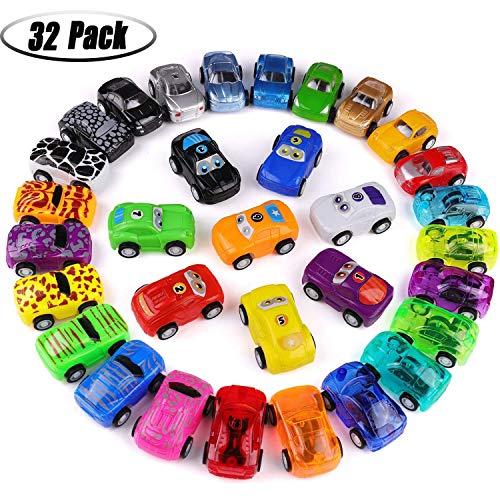 Funmo Spielzeugautos Set für Kinder, Mini Pull Back Cars Set, Spielzeug für 3-jährige Jungen & 4-jährige Jungen Geschenke, Fahrzeugspielzeug Kuchendeckel Partydekorationen für Kinder Kinde(32er-Set)
