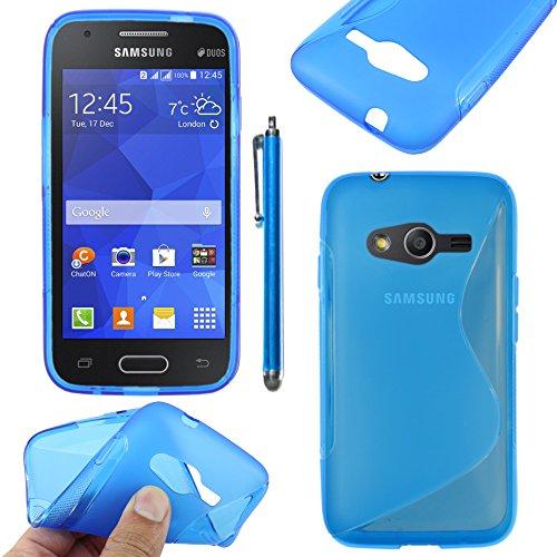 ebestStar - Cover Compatibile con Samsung Galaxy Trend 2 Lite SM-G318H, Galaxy V Plus Custodia Protezione S-Line Silicone Gel TPU Morbida e Sottile +Penna, Blu [Apparecchio:121.4x62.9x10.7mm 4.0']