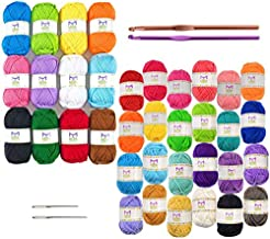Acrylic Yarn 40 Piece Bundle - Large and Mini Yarn Skeins Assorted Colors - Crochet and Knitting, Pompoms and Amigurumi Crafts
