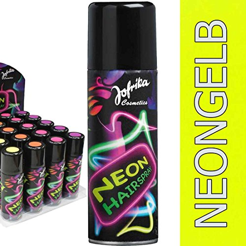 Amakando Jaren 80 haarspray disco kleurspray neongeel neonkleuren haarspray neon spray carnaval accessoires themafeest neonspray oudejaarsavond themafeest haarkleur