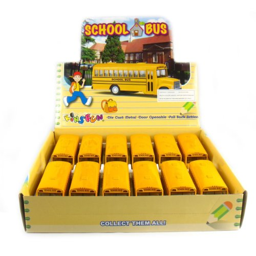 KiNSFUN Novelty Die Cast Classic Long Nose School Bus Pull Back Action 12 Pack