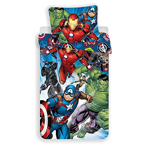 JFabrics Set Letto Singolo Copripiumino + Federa Ufficiale Marvel Avengers in Cotone 3855