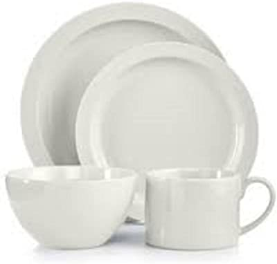 Martha Stewart Collection Harlow Talc White Round 4-Piece Place Setting