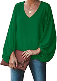 Imysty Womens Oversized Lantern Sleeve Chiffon Blouse Tops Casual Loose V Neck Shirts Pullover