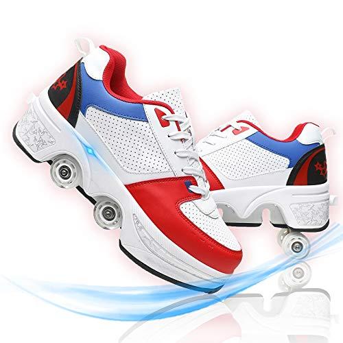 Deformación Patines 4 Ruedas Adultos Profesionales En Paralelo Zapatos Multiusos 2 En...