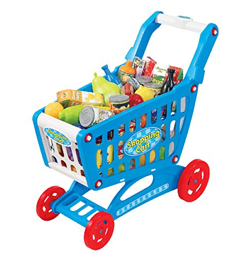 """19"""" Mini Shopping Cart with Full Grocery Food Toy Playset for Kids"""