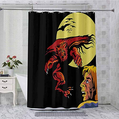 Aishare Store Shower Curtains, Comics Super Heros Monsters Werewolf Enemy of Dracula Attacking Moment Art Print, 72 Inches Long Bathroom Curtain with Hooks, Multicolor