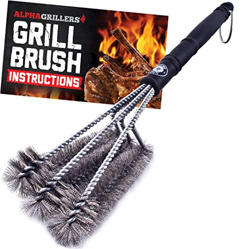 Alpha Grillers 18' Grill Brush. Best BBQ Cleaner. Safe for All Grills....