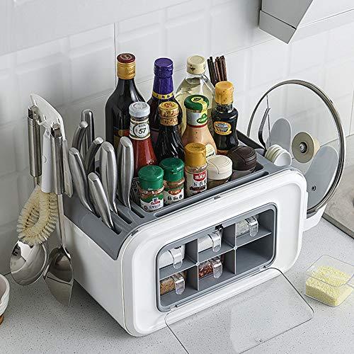 GRX-ZNLJT Spice Rack Kitchen, Spice Rack for Drawer, Kitchen Shelves Spice Rack- portacuchillas de Cocina, Cubiertos, Caja de condimentos Multifuncional
