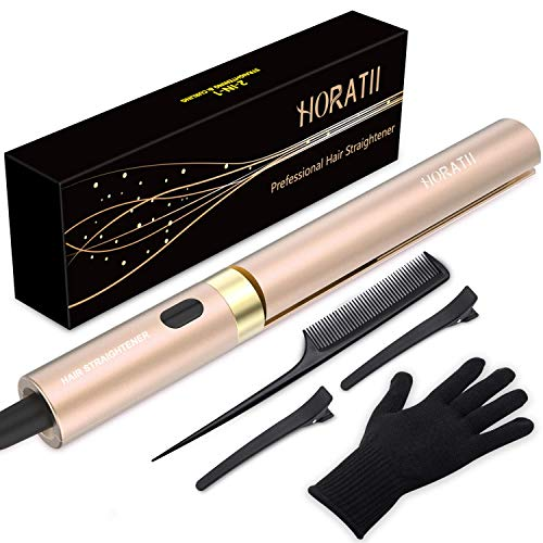 Hair Straightener, Flat Iron for Hair Styling, Curling Iron 2 in 1 Straightening Flat Iron for All Healthy Styling, Tourmaline Ceramic Flat Iron for All Hair Types Real-Time Temperature Display (Gold)