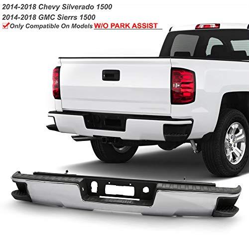 ACANII - For 2014-2018 Chevy Silverado/GMC Sierra 1500 Chrome Rear Step Bumper Assembly W/O Sensor Holes w/Corner Holes