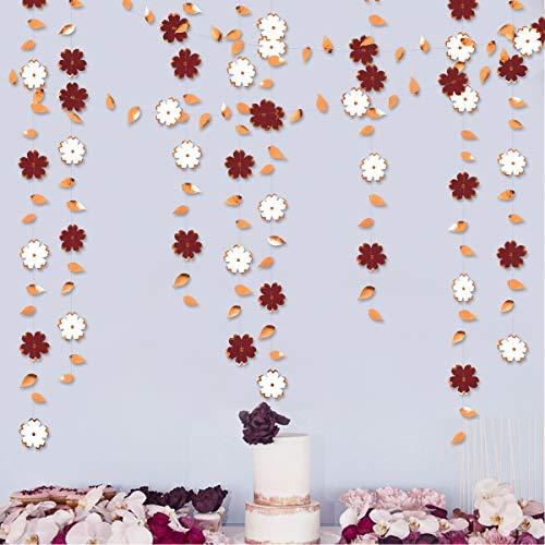 Papier-Blumengirlande, 1,9 m, Burgunderrot, Weiß, Rotgoldfolie, zum Aufhängen, für Junggesellinnenabschiede, Verlobungen, Hochzeiten, Geburtstage, Brautpartys, Jubiläen, Teepartys, Dekoration, 3 Stück