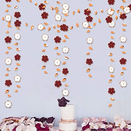 42 Ft Burgundy White Paper Flower Garland Rose Gold Foil Hanging Leaf Flower Streamer Banner for Bachelorette Engagement Wedding Birthday Bridal Shower Anniversary Tea Party Decoration Supplies(3pack)