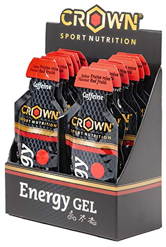 Crown Sport Nutrition 12x Energy Gel (40g)+ Caffeine with Liquid Texture, carbohydrates, aminoacids and Electrolytes, Red Fruits Flavour,Neutral