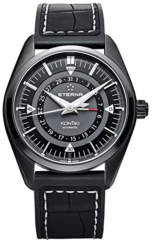 Eterna kontiki Herren Uhr analog Automatik mit Leder Armband 1598.43.41.1306