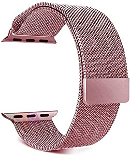 Milan Metal Stainless Steel Magnetic Apple Watch Strap Band 42mm Rose Gold