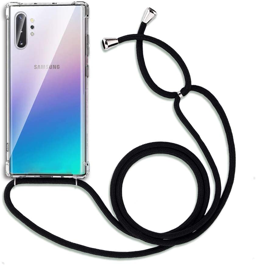 FANSONG Case for Samsung Galaxy Note 10 Plus/ 10+ 5g 2019,Phone Case with 1.65m Carrying Sling, Corner Bumper Protection Soft TPU Cover with Detachable & Adjustable Crossbody Strap