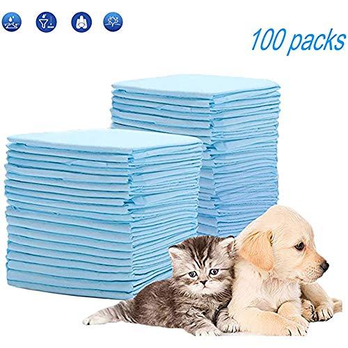 Queta Toallitas de Entrenamiento para Mascotas, 100PCS Juego de Cojines de Orina de Perros Desechables Empapadores Pañales de Mascotas Súper Absorbente (Azul)