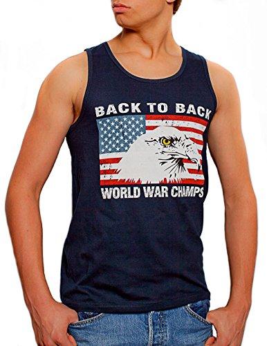 Back To Back World War Champs Eagle Men's Tank Top Navy (Large)