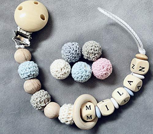 Hochwertige Schnullerkette mit Namen ♥ Mädchen Junge♥ Häkelperle ★ Holz & Blau Holz Ring für Mädchen andere Farben auch möglich Babygeschenk
